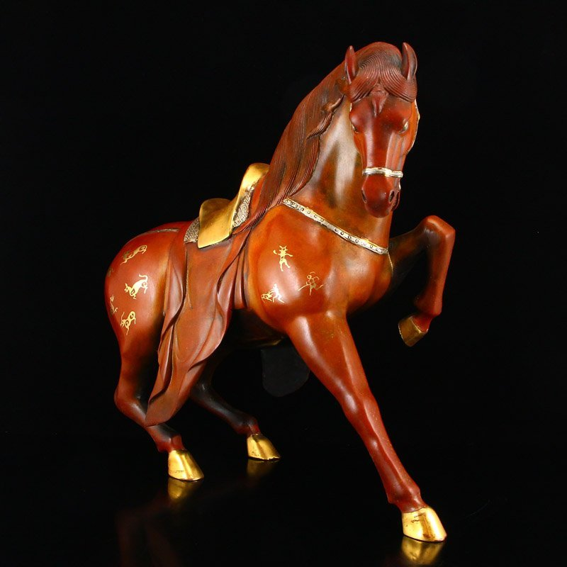Chinese Gilt Gold-plated Silver Red Copper Horse Statue - 2