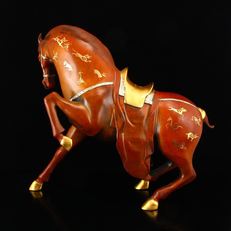 Chinese Gilt Gold-plated Silver Red Copper Horse Statue - 4
