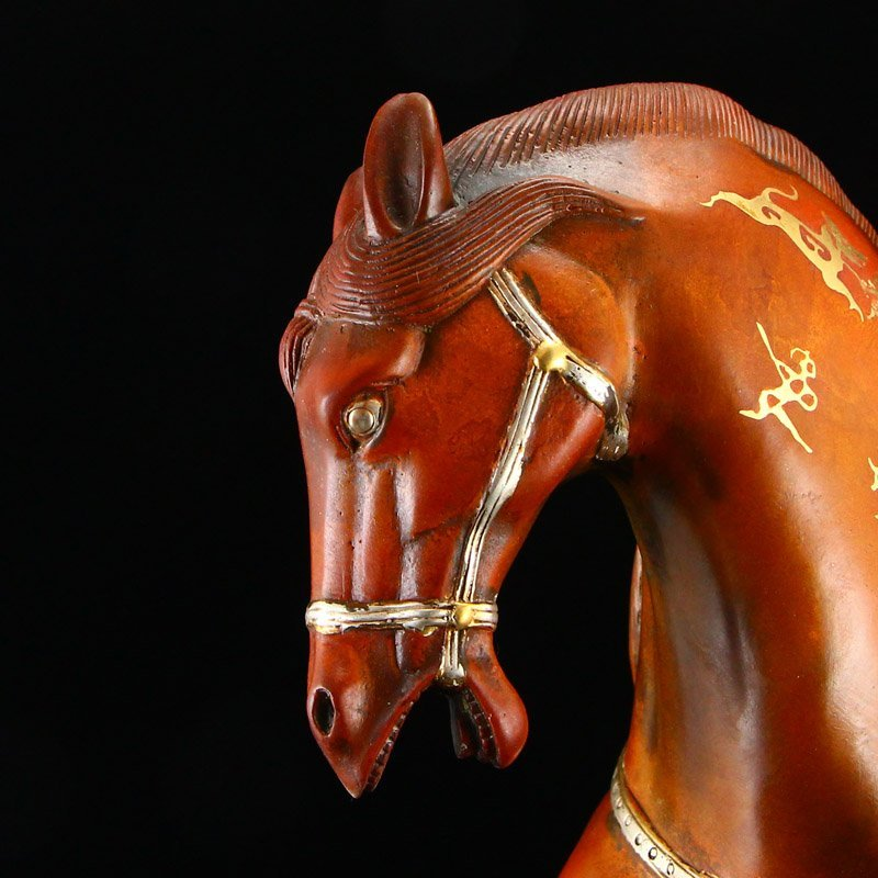 Chinese Gilt Gold-plated Silver Red Copper Horse Statue - 7