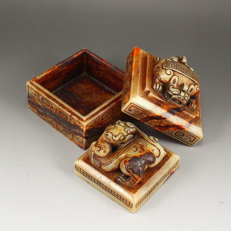 A Set 37 Pieces Chinese Han Dynasty Hetian Jade Seals - 10
