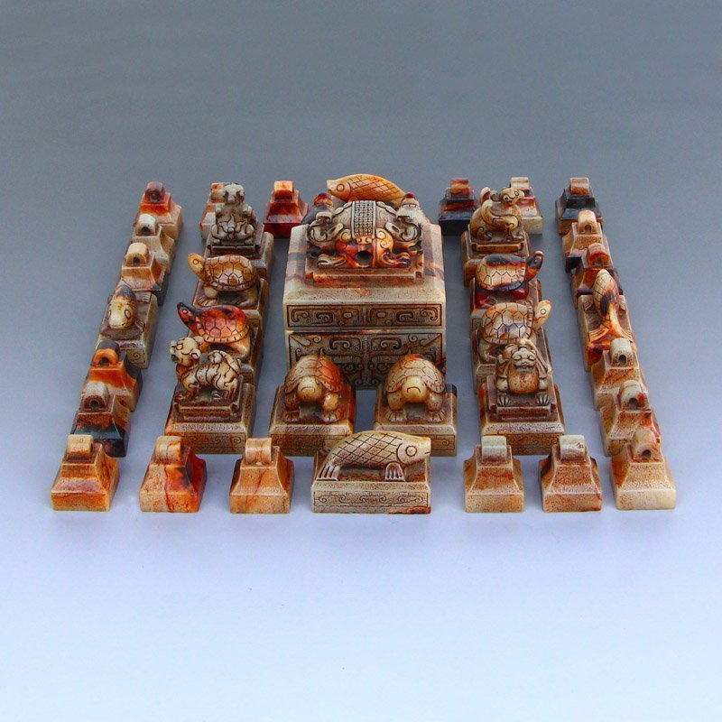 A Set 37 Pieces Chinese Han Dynasty Hetian Jade Seals