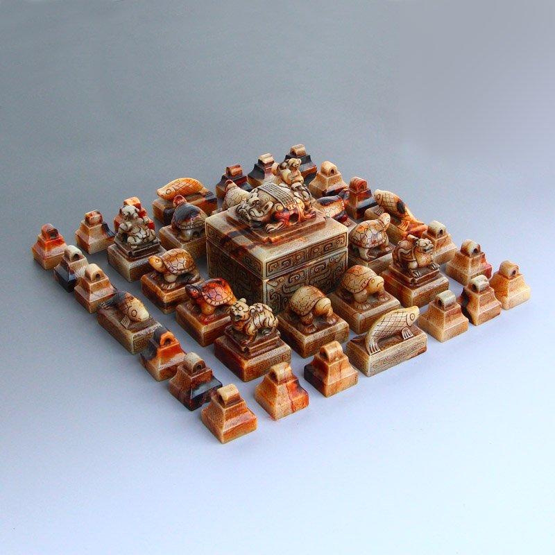 A Set 37 Pieces Chinese Han Dynasty Hetian Jade Seals - 2