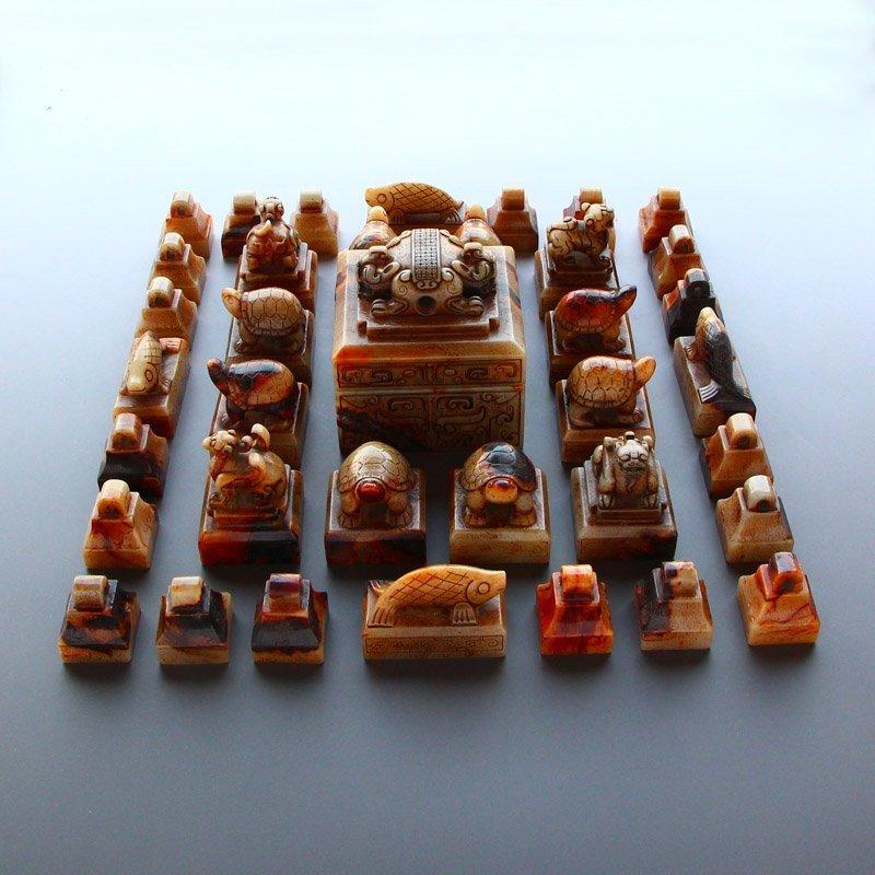 A Set 37 Pieces Chinese Han Dynasty Hetian Jade Seals - 4