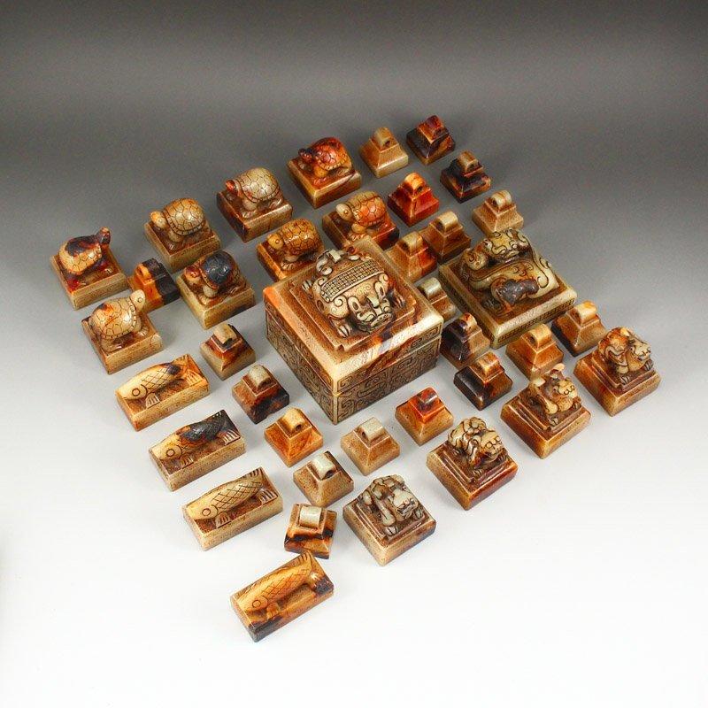 A Set 37 Pieces Chinese Han Dynasty Hetian Jade Seals - 6