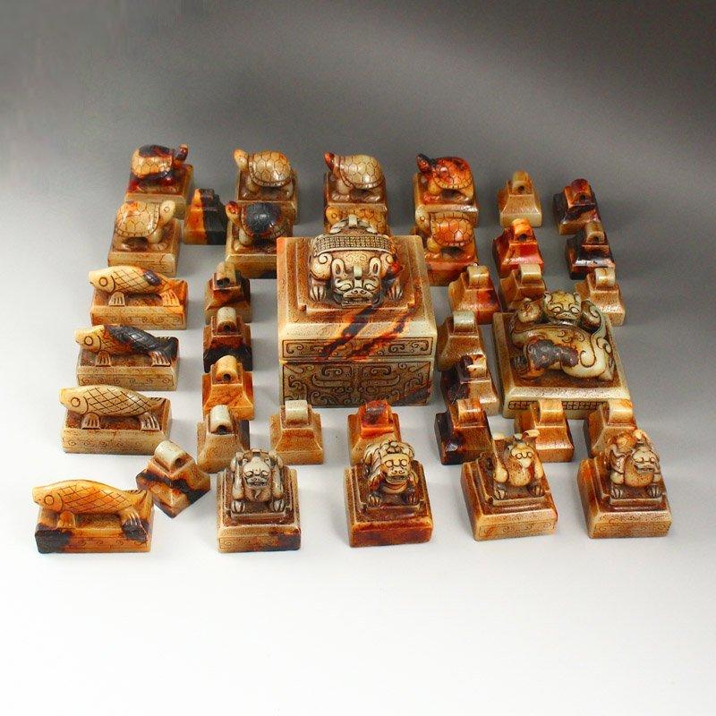 A Set 37 Pieces Chinese Han Dynasty Hetian Jade Seals - 7