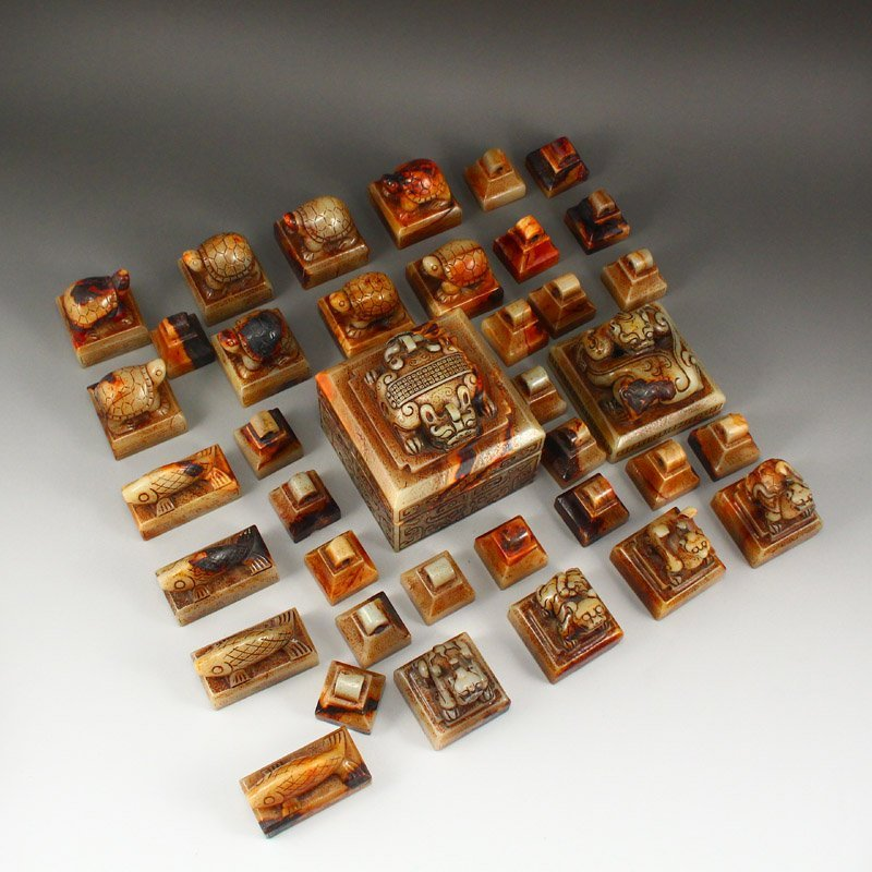 A Set 37 Pieces Chinese Han Dynasty Hetian Jade Seals - 8