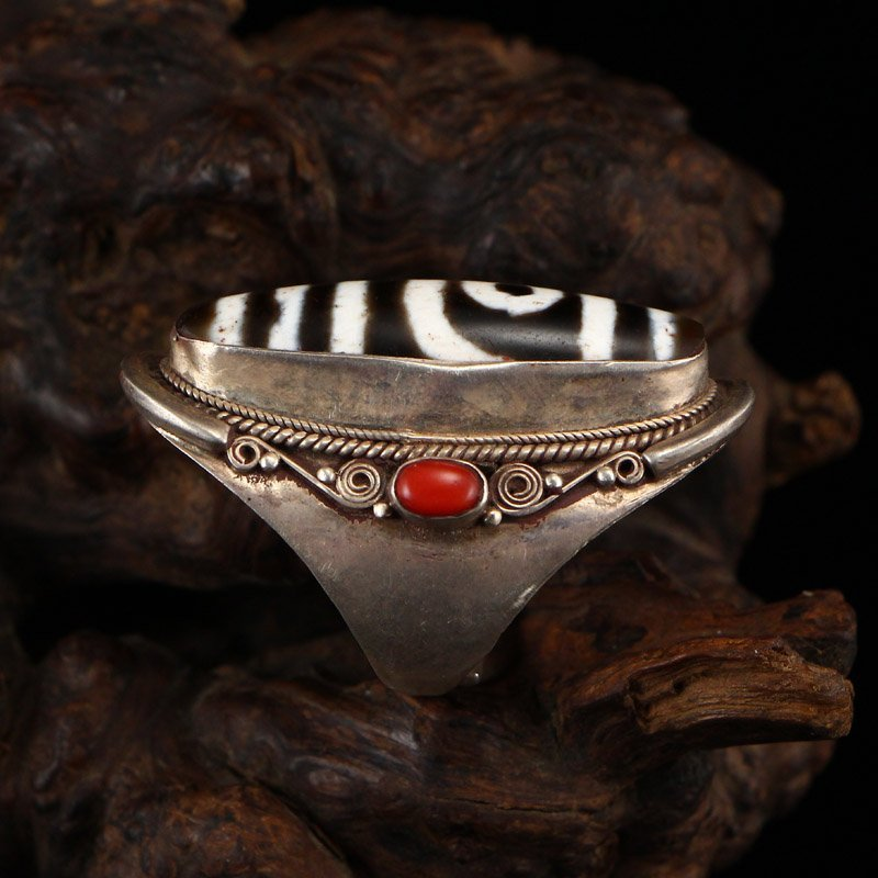 Vintage Chinese Sterling Silver Inlay DZI Agate Ring - 2