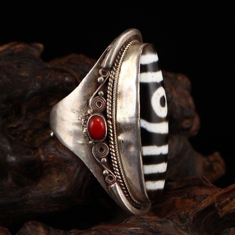Vintage Chinese Sterling Silver Inlay DZI Agate Ring - 4