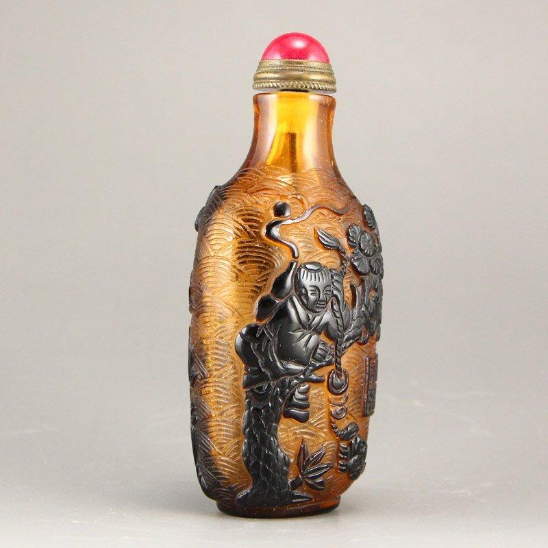 Chinese Qing Dy Peking Glass Snuff Bottle - 2