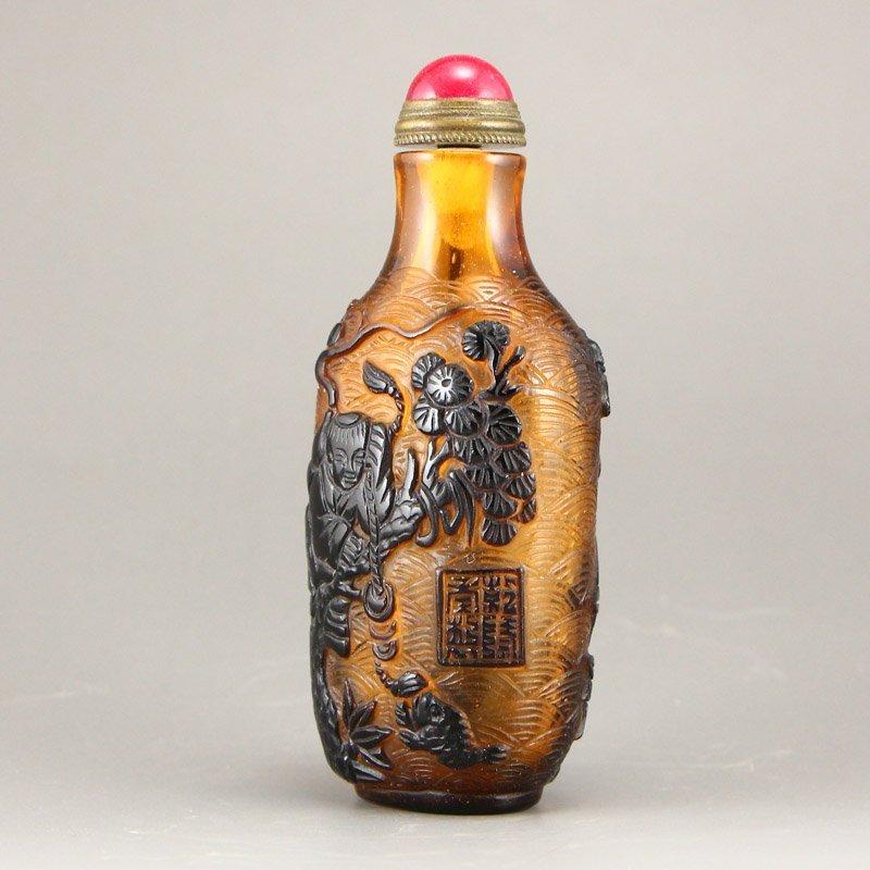 Chinese Qing Dy Peking Glass Snuff Bottle - 3