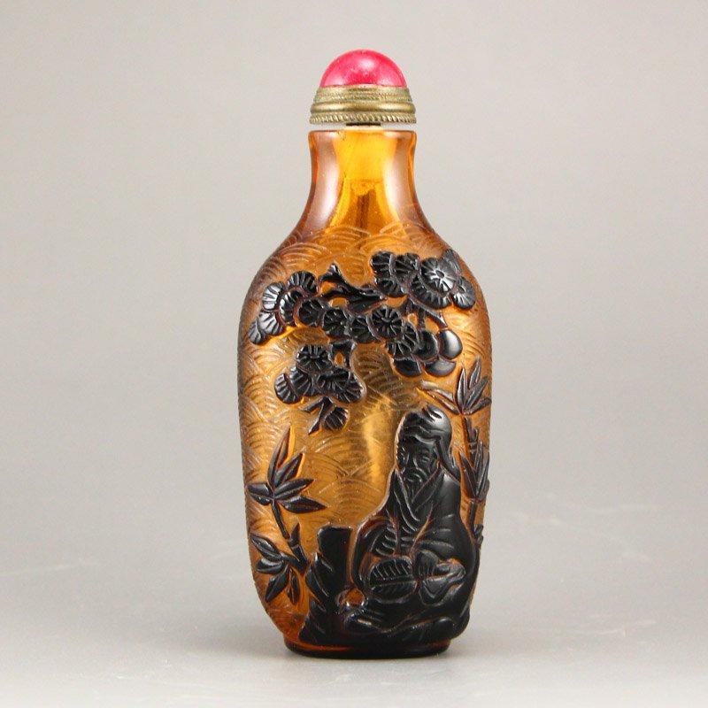 Chinese Qing Dy Peking Glass Snuff Bottle - 4