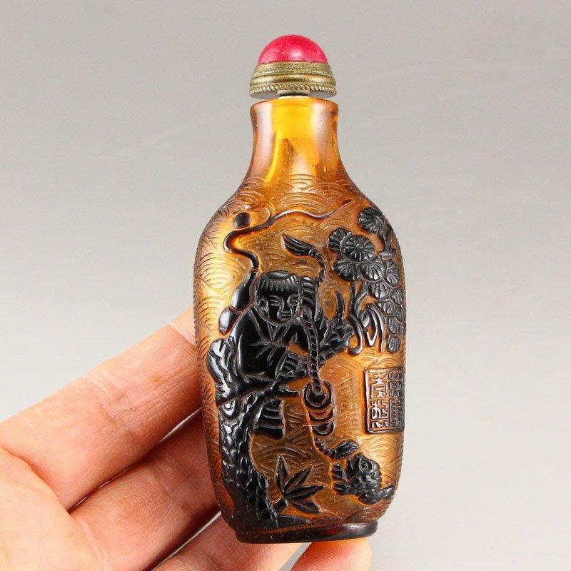 Chinese Qing Dy Peking Glass Snuff Bottle - 7