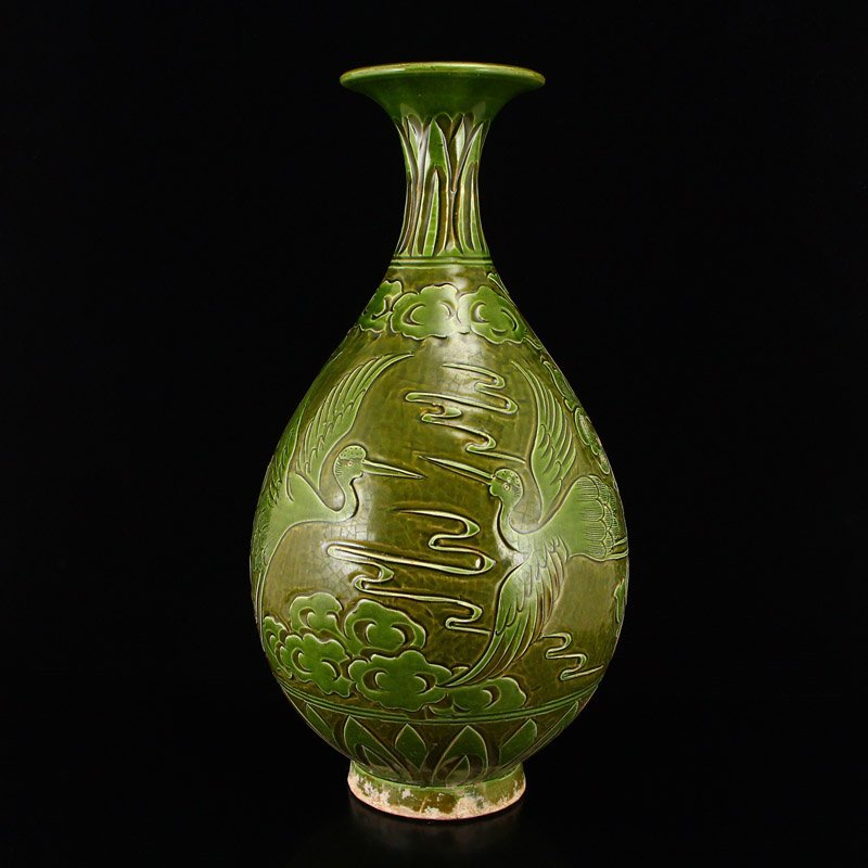 Chinese Song Dy Green Glaze Ci Zhou Kiln Porcelain Vase