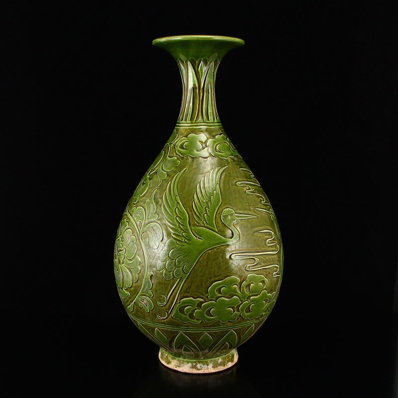 Chinese Song Dy Green Glaze Ci Zhou Kiln Porcelain Vase - 2
