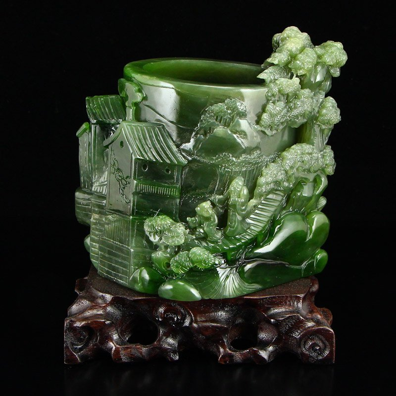 Chinese Natural Green Hetian Jade High Relief Brush Pot