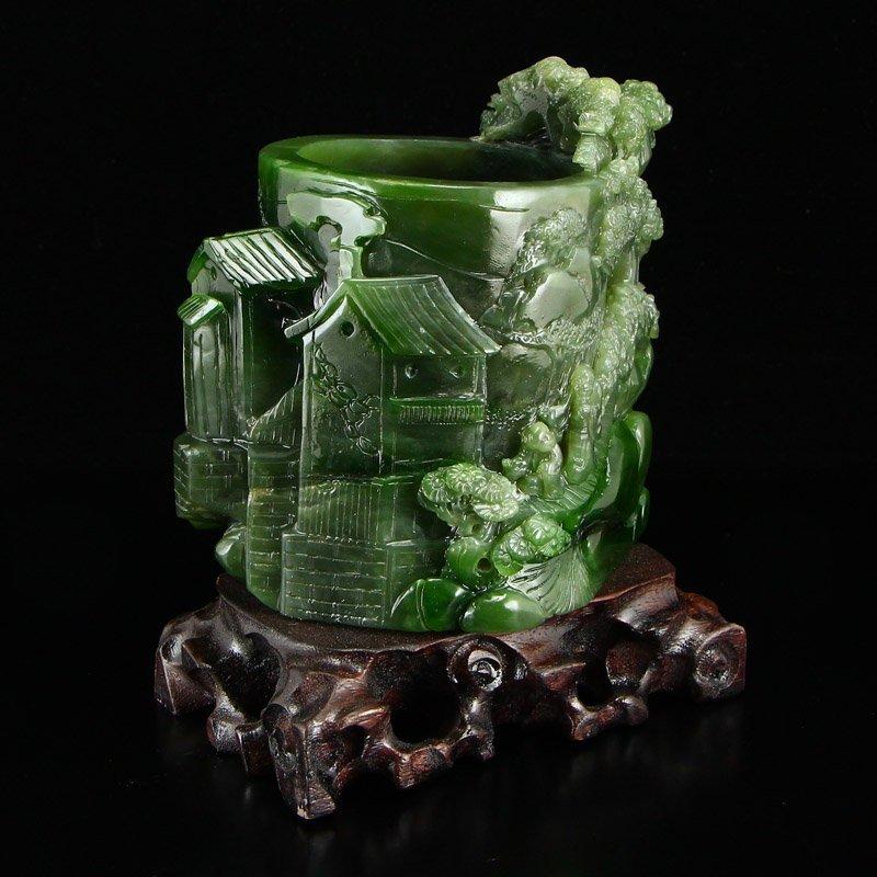 Chinese Natural Green Hetian Jade High Relief Brush Pot - 2
