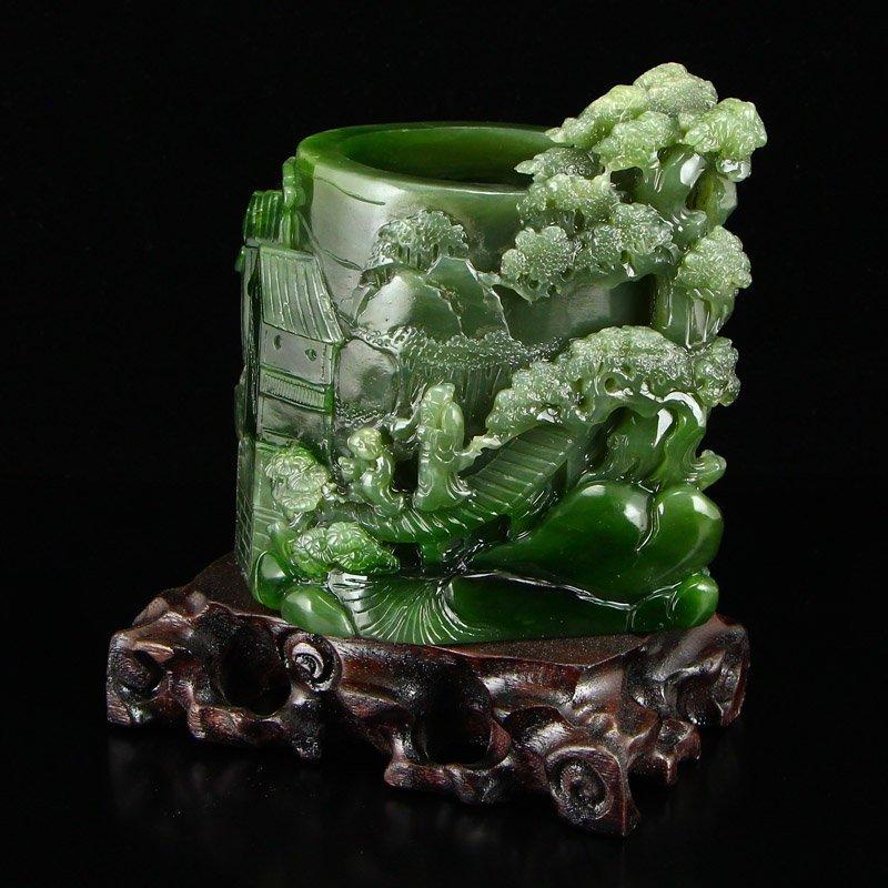 Chinese Natural Green Hetian Jade High Relief Brush Pot - 3