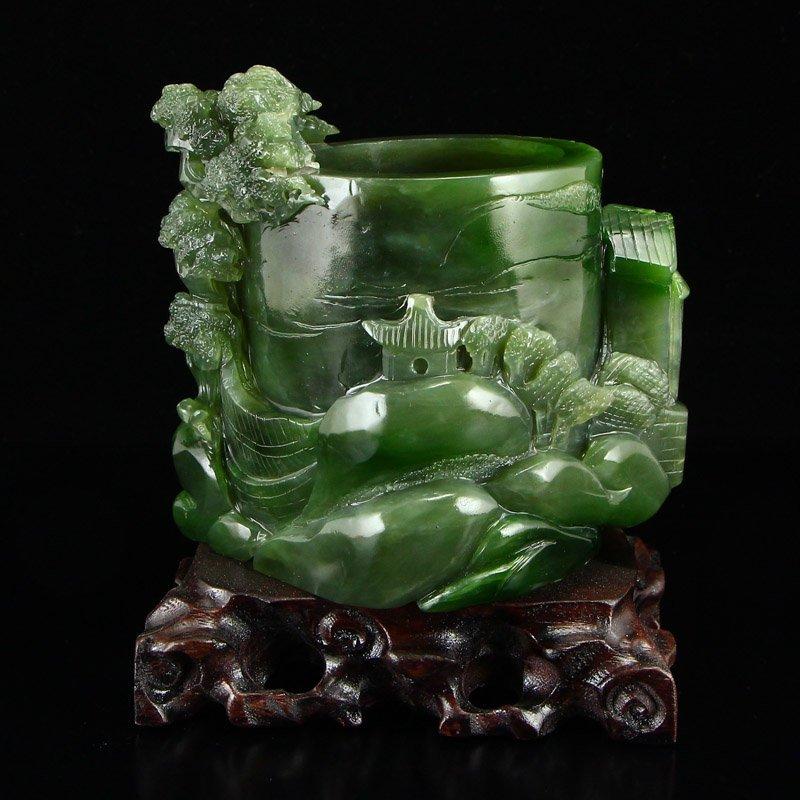Chinese Natural Green Hetian Jade High Relief Brush Pot - 4