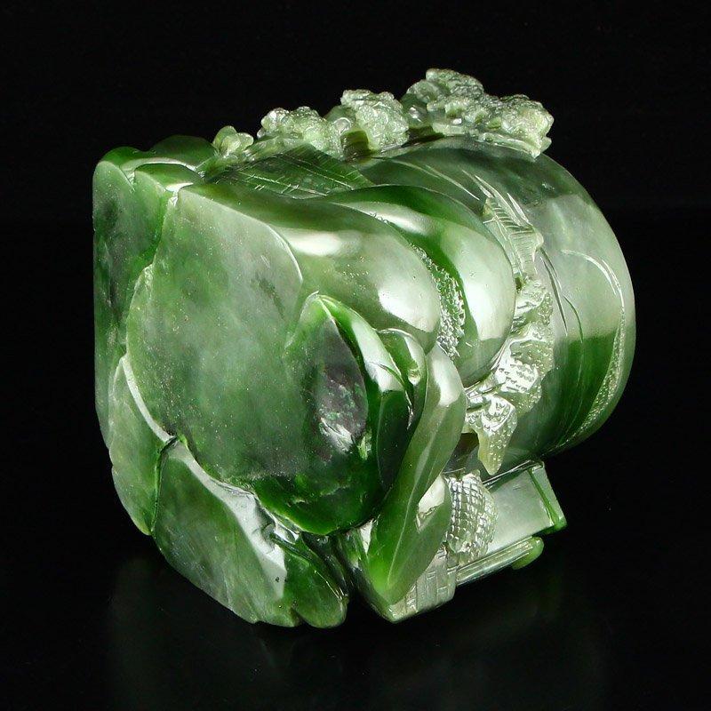 Chinese Natural Green Hetian Jade High Relief Brush Pot - 8