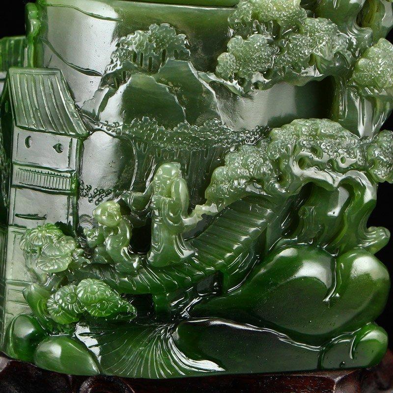 Chinese Natural Green Hetian Jade High Relief Brush Pot - 9