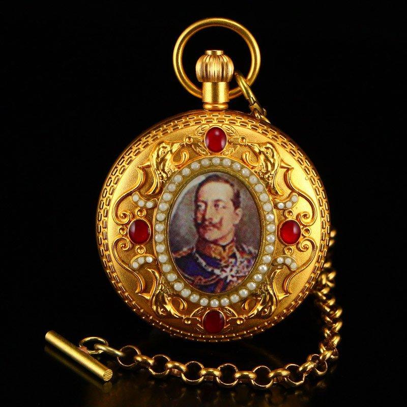 Vintage Gilt Gold Red Copper Inlay Gems Pocket Watch