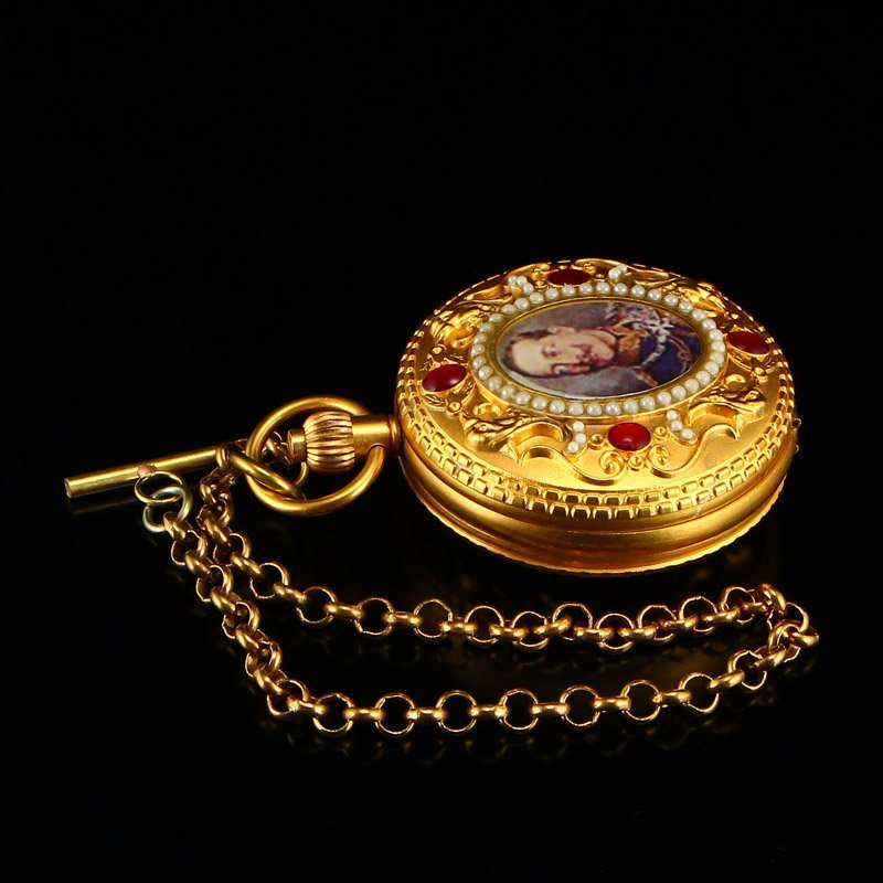 Vintage Gilt Gold Red Copper Inlay Gems Pocket Watch - 2