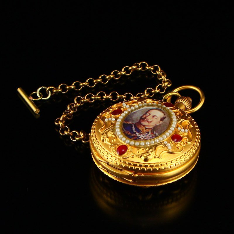 Vintage Gilt Gold Red Copper Inlay Gems Pocket Watch - 3