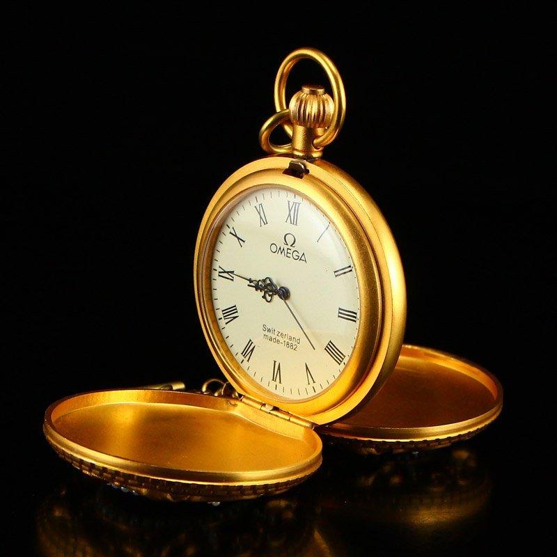 Vintage Gilt Gold Red Copper Inlay Gems Pocket Watch - 4