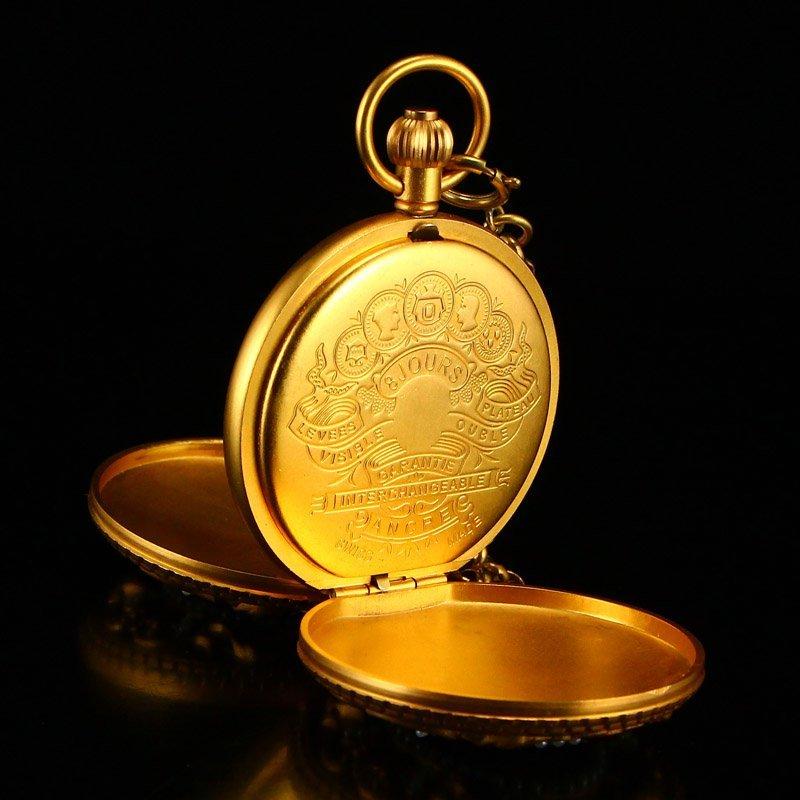 Vintage Gilt Gold Red Copper Inlay Gems Pocket Watch - 5
