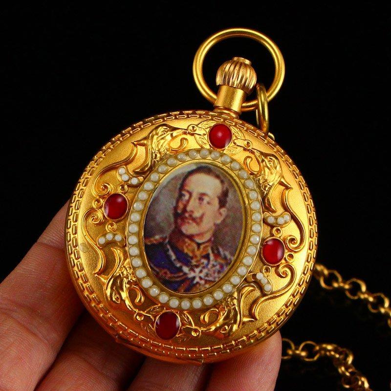 Vintage Gilt Gold Red Copper Inlay Gems Pocket Watch - 7