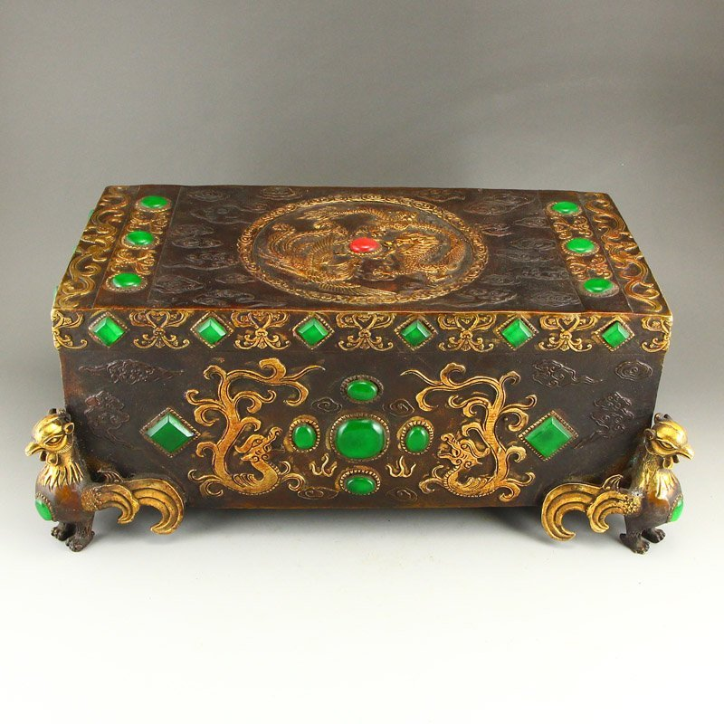Superb Gilt Gold Bronze Inlay Jadeite & Gems Pillow