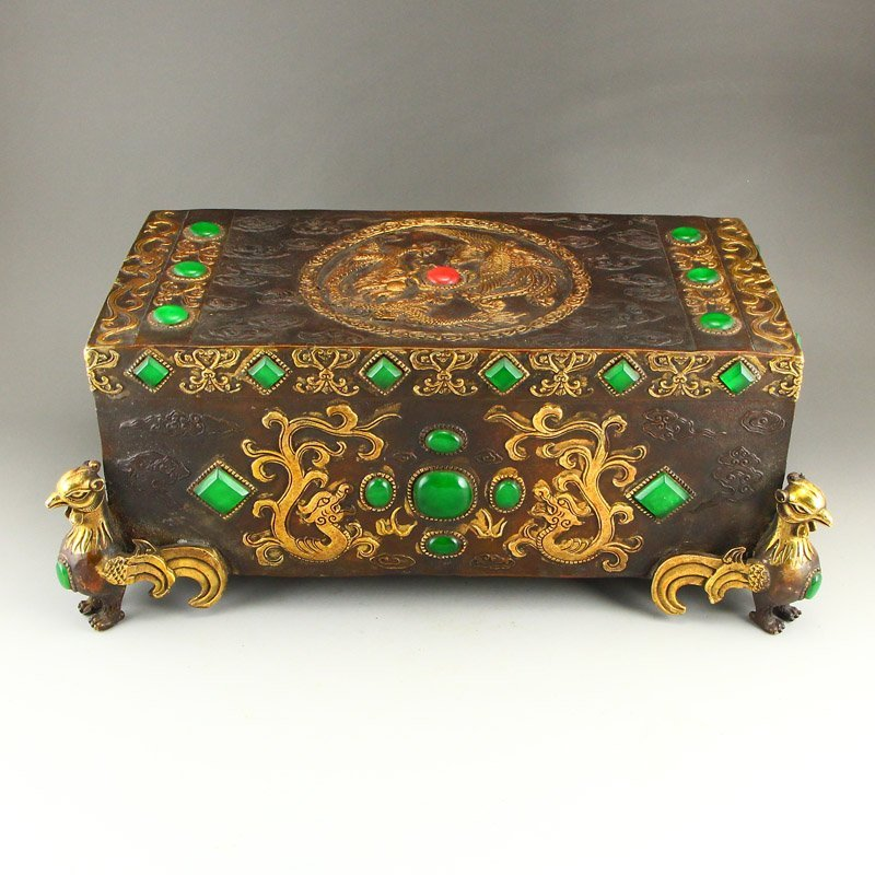 Superb Gilt Gold Bronze Inlay Jadeite & Gems Pillow - 4