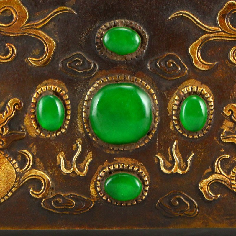 Superb Gilt Gold Bronze Inlay Jadeite & Gems Pillow - 8