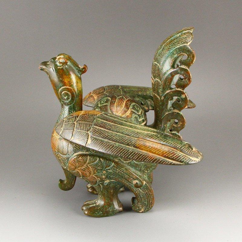 Vintage Chinese Hetian Jade Phoenix Incense Burner