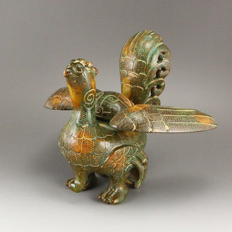 Vintage Chinese Hetian Jade Phoenix Incense Burner - 2