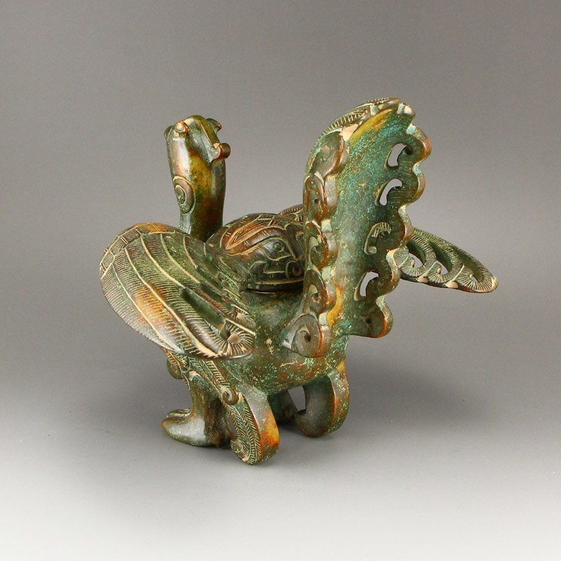 Vintage Chinese Hetian Jade Phoenix Incense Burner - 3