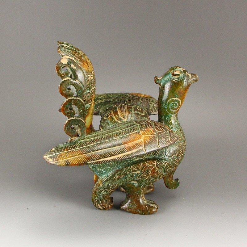 Vintage Chinese Hetian Jade Phoenix Incense Burner - 4