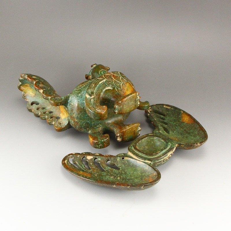 Vintage Chinese Hetian Jade Phoenix Incense Burner - 6