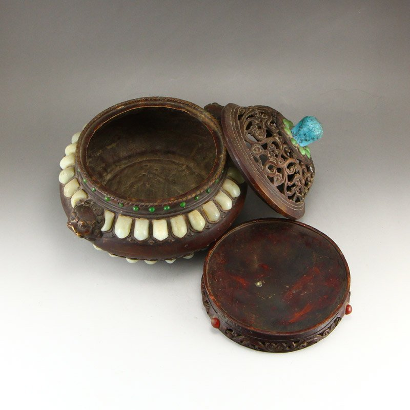 Openwork Red Copper Inlay Jade & Gems Incense Burner - 6