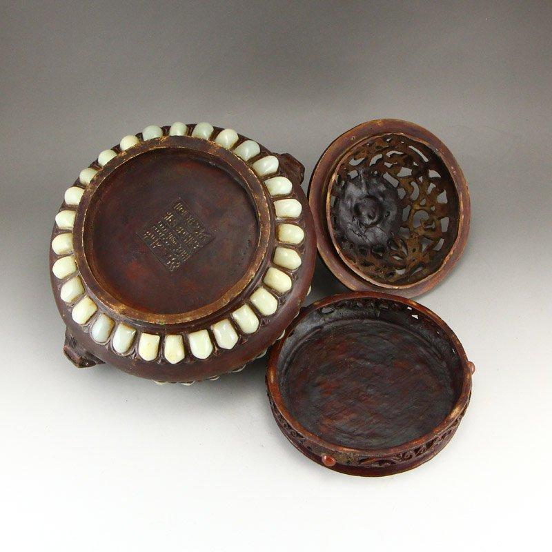 Openwork Red Copper Inlay Jade & Gems Incense Burner - 7
