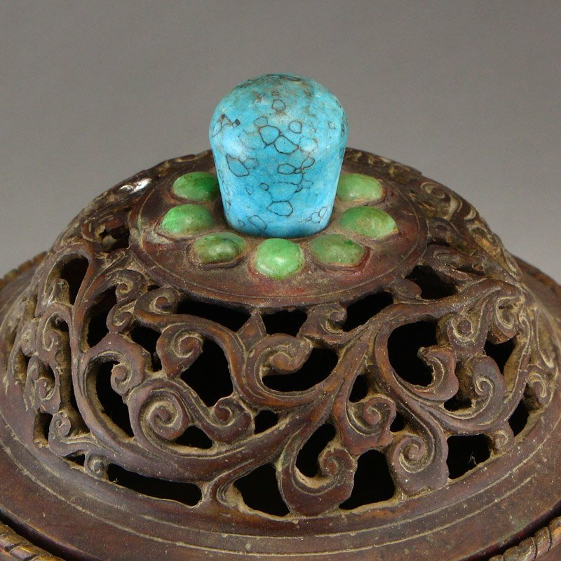 Openwork Red Copper Inlay Jade & Gems Incense Burner - 8