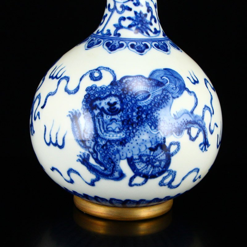 Chinese Qing Dy Gilt Gold Blue And White Porcelain Vase - 8