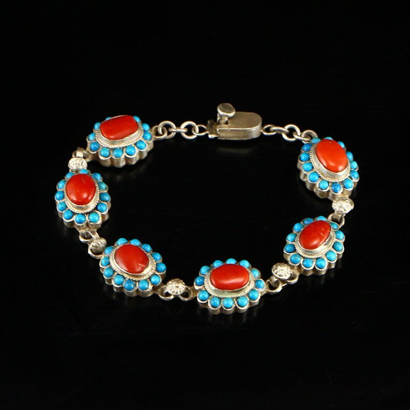Tibetan Sterling Silver Inlay Turquoise &Coral Bracelet