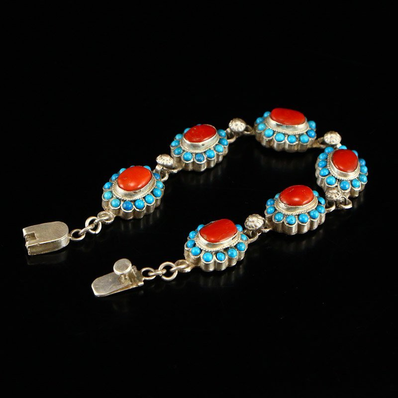 Tibetan Sterling Silver Inlay Turquoise &Coral Bracelet - 3