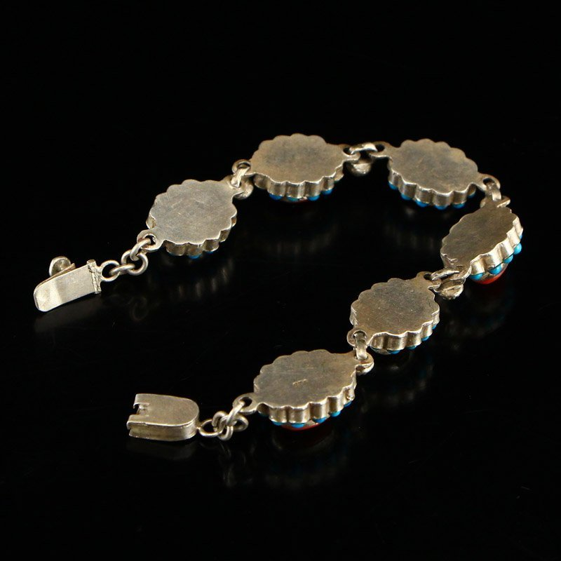 Tibetan Sterling Silver Inlay Turquoise &Coral Bracelet - 4
