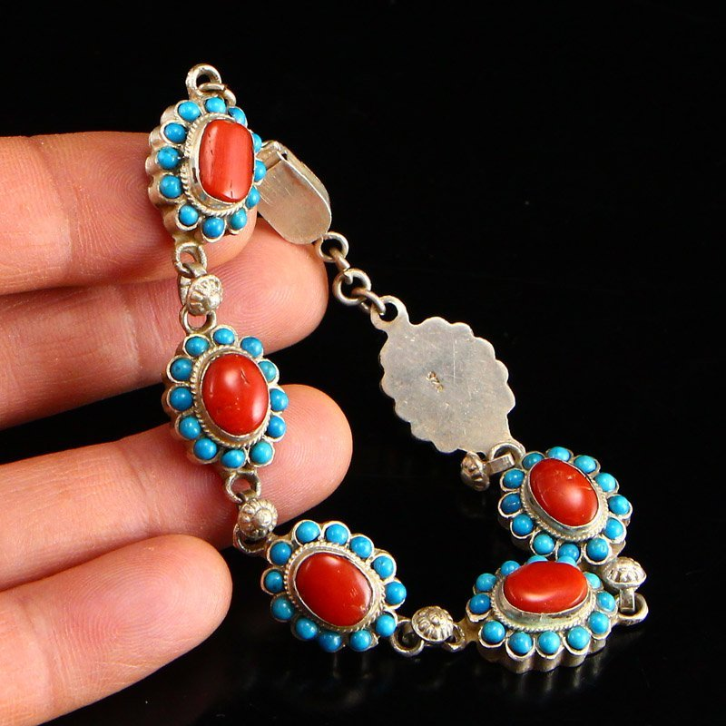 Tibetan Sterling Silver Inlay Turquoise &Coral Bracelet - 5