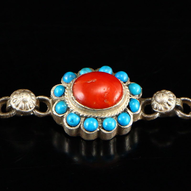 Tibetan Sterling Silver Inlay Turquoise &Coral Bracelet - 6