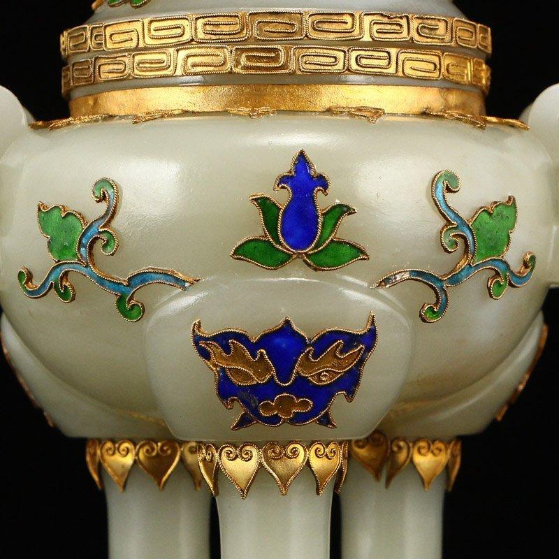 Hetian Jade Inlay Gold Wire Enamel Incense Burner - 8