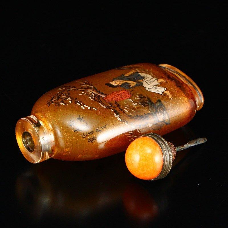 Chinese Peking Glass Inside Painting Snuff Bottle - 8