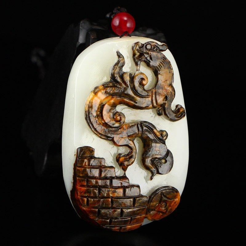Superb Chinese Hetian Jade Pendant - Fortune Dragon - 2